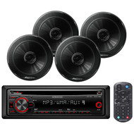 Kenwood CD AUX Mp3 AM FM Car Radio, 4 Black 250W Full Range Coaxial Car Speakers