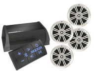 """Kicker 2 Channel Bluetooth Portable Amplifier, 4 Kicker White 6.5"""" Speaker Set"""