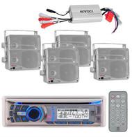 New 240Watt Dual AMB600W Marine In Dash CD MP3 WB Receiver 8 Speakers /800W Amp