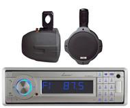 """2 Black 300W 8"""" Marine Wake Board Speakers, Lanzar Bluetooth USB AUX AM FM Radio"""