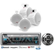 "4 White 8""Marine Wakeboard Speakers,Bluetooth USB CD Marine Radio & Wired Remote"