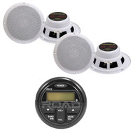 "PRV19 AM/FM USB Bluetooth Digital Marine Radio Receiver,6.5"" 2-Way Speakers"