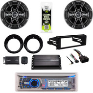 AMB600W CD Radio, Amp, XM Tuner, Harley FLHX Install Dash Kit,Kicker Speaker Set