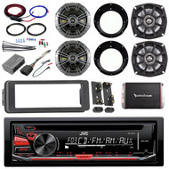 "Harley CD AUX FLHTX Adapter Kit,Amplifier Set, Kicker 5.25"" and 6.5"" Speaker Set"