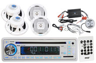 "6.5"" 2Way Marine Speakers, Pyle USB CD AUX AM FM Marine Radio, 1200W Amplifier"