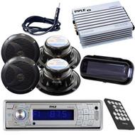 New Marine AM/FM Radio MP3 SD Receiver/ Bluetooth 400W Amp 4 Speakers Cover Pkg