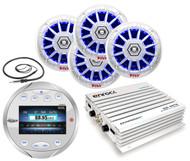 "LED Marine 6.5"" Speakers, Lanzar Boat Bluetooth AM FM Radio, Antenna, Amplifier"