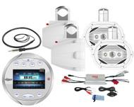 """6x9"""" Marine 4Way Speakers, Amplifier,Silver Round Bluetooth AM FM Radio, Antenna"""