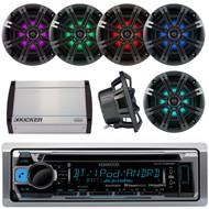 "Kenwood KMR-D368BT Marine Boat Yacht CD MP3 Bluetooth Stereo AM/FM iPod iPhone Radio Player, Kicker 41KM84LCW 8"" KM Series Coaxial Marine Speakers w/ LED Lights, Kicker 40KXM400.4 4-Channel 400 Watts Marine Amplifier"
