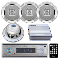 Lanzar AQCD60BTS Silver Bluetooth AM/FM-MPX In-Dash Marine CD/SD/MMC/USB Player Receiver, Lanzar AQ7CXS Lanzar 500 Watts 7.7'' 2-Way Marine Speakers (Silver Color), PLMRA400 Pyle 4 Channel 400 Watt Waterproof Marine White Amplifier