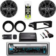 Kenwood USB CD Radio, Amp, XM Tuner, Harley FLHX Dash Install Kit, Speaker Set