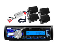 New JVC KDX31MBS Marine Yacht USB AUX iPhone Control, Amp, Box Speakers, Antenna