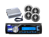 "New JVC Boat Car Bluetooth iPod iPhone Receiver, 6.5"" Speakers, 400W Amp,Antenna"