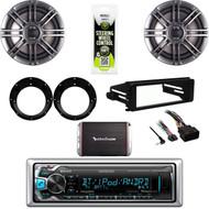 """Bluetooth USB Stereo, Harley DASH FLHX DIN Kit, 300W Amp, Polk 6.5"""" Speaker Set"""