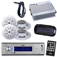 New Silver In Dash Marine Boat Radio W/Bluetooth 400W Amp + 4 Speakers /Cover