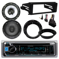 "CD Marine Radio, In Dash 98-2013 FLHTC Harley FLHX Kit, Speakers 6.5""& Adapters"