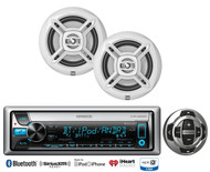 "Kenwood Marine Bluetooth CD USB Radio, 2 White Dual 6.5"" Speakers & Wired Remote"