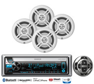 "Marine USB CD Bluetooth iPod Radio,4 Dual White 6.5""Marine Speakers,Wired Remote"