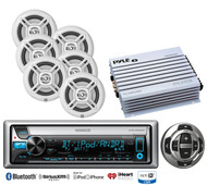 "Kenwood Marine iPod CD USB Bluetooth Radio,Wired Remote,6.5"" Speakers, Amplifier"
