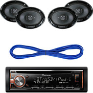 """Pioneer DEHS6000BS CD/MP3 Bluetooth Receiver Aux Input USB Multicolor Illumination With Remote, Kenwood 6X9"""" 3-Way Speaker 550W, 14 Gauge 50 Foot Speaker Wire"""