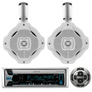 "6.5"" Wakeboard 2Way Speakers, Kenwood Marine Bluetooth USB CD Radio/Wired Remote"