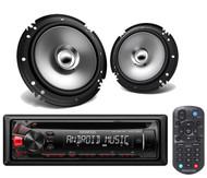 2 Kenwood 6.5'' 2 Way Flush Mount Speakers, Kenwood CD USB AUX AM FM Car Radio