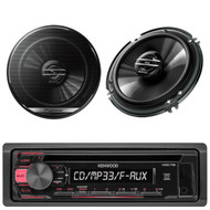 "Kenwood AM FM USB CD Mp3 Car Radio, 2 Black Pioneer 6.5""250W Full Range Speakers"