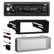 Harley 98-2013 FLHT FLHX Install Dash Kit, Kenwood Car Bluetooth CD Radio, Cover