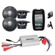 Bike Boat Marine Grade Outdoor 4 Black Speakers, 800W Amplifier w/iPod MP3 Input