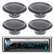 "New Kenwood KMR-D562BT Bluetooth CD MP3 Marine Boat Yacht Bike AUX USB iPod iPhone Input Radio Player Stereo Receiver, And 4 X 6.5"" Inch Black Q Power Marine Audio Speakers System - Great Marine Outdoor Stereo Package"