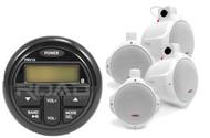 """Bluetooth USB AM FM Milennia Marine Radio, 4 Marine White 8"""" Wakeboard Speakers"""