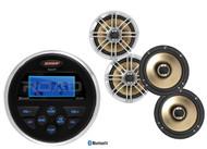 """Jensen Round Bluetooth AUX USB Marine Radio, 4 Silver 6.5"""" Polk Marine Speakers"""