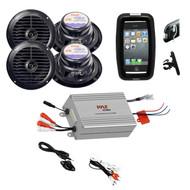 Boat Outdoor Bike Offroad Safe Black Speakers, iPod MP3 Input 4Channel Amplifier