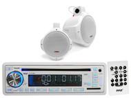 "Pyle White 6.5"" Marine 200W Wake Board Speakers, Pyle USB CD AUX AM FM Mp3 Radio"
