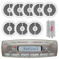 4 x 45 Watt JBL MR18.5 AM/FM Radio Waterproof Marine Stereo Receiver, PLMR51W Pyle 100 Watts 5.25'' 2 Way Marine Speakers (White), PLMRMP3A Pyle 4 Channel Waterproof MP3/ Ipod Marine Power Amplifier (White)