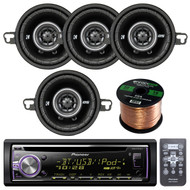 "New Pioneer DEH-X6900BT Car CD Stereo Receiver Mixtrax and Bluetooth AM/FM Radio Player, USB AUX in, 2 X Pair Kicker 41DSC354 3.5"" D-Series Coaxial 2-Way Car Speakers, Cadence 14g 60 Foot Blue Speaker Wire"