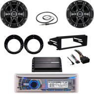 "AMB600W Bluetooth CD Radio, Harley FLHX Dash Kit, 6.5"" Speaker Set, Amp, Antenna"