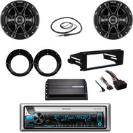 "98-2013 FLHT Dash Kit, Amp,Bluetooth CD Radio, Kicker 6.5"" Speaker Set, Antenna"
