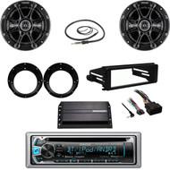 """Kenwood CD Bluetooth Radio, Harley FLHT Dash Kit, 6.5"""" Speaker Set, Antenna, Amp"""
