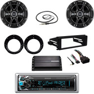 Kenwood Bluetooth USB Radio,Harley FLHX Dash Kit, Amp,Antenna,Kicker Speaker Set