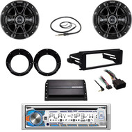 Dual Bluetooth CD-Harley FLHX FLHT Dash Kit, Amp, Antenna, Kicker Speaker Set