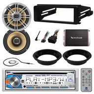 98-2013 Harley Dash Install Kit,CD Stereo,Polk Speakers,Adapter,400W Amp,Antenna