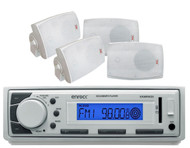 "4 Marine 4"" White 250W Sealed Speakers, Marine Enrock USB AM FM AUX Mp3 Receiver"
