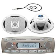 4 x 45 Watt JBL MR18.5 AM/FM Radio Waterproof Marine Stereo Receiver, AQ69CXS Lanzar 500 Watts 6''X9'' 2-Way Marine Speakers, EKMR1 Enrock Marine Black Wire Antenna