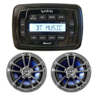 """New Infinity Marine Audio PRV250 Bluetooth Marine Boat Yacht Stereo AM/FM Radio Player With 2 x Infinity 612M 6.5"""" Inch Marine Audio Silver Speakers - Complete Marine yacht Audio Package"""
