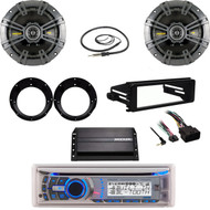 "Dual Bluetooth USB Stereo, Harley FLHX Dash Kit, Amp, 6.75"" Speaker Set, Antenna"