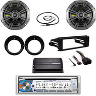"Dual Bluetooth CD Stereo,Harley FLHX DASH Kit,Amp,Antenna,6.75"" Speakers/Adapters"