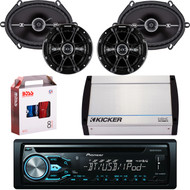 "DEH-X4900BT Bluetooth CD MP3 USB Player & Remote, Pair Kicker 41DSC684 6x8"" 4-Ohm Car Speakers, Pair 41DSC654 Kicker 6.5"" Car Speaker, Kicker 4-Channel 400 Watts Marine Amp, 8 Gauge Car Amp Install Kit"
