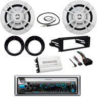 "Kenwood CD USB Radio/98-2013 FLHX Harley Install Kit, 6.5""Speakers, Antenna, Amp"