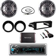 "USB Bluetooth Stereo, Harley FLHTC DASH Kit, 300W Amp, 6.5"" Speaker Set, Antenna"